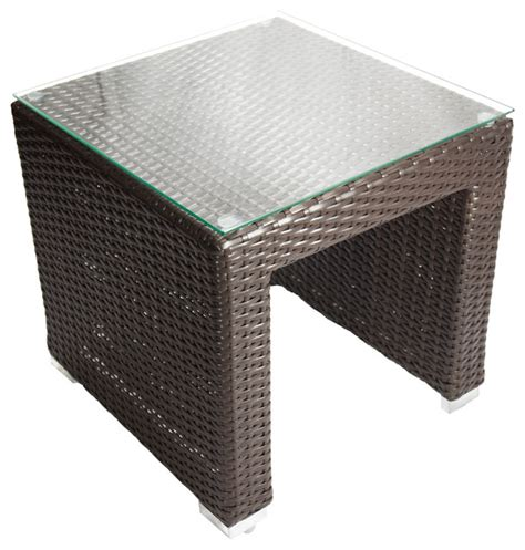 wicker patio end tables shop houzz dola outdoor patio wicker side table