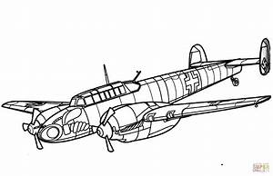 Messerschmitt Bf 110 Heavy Fighter Aircraft Coloring Page