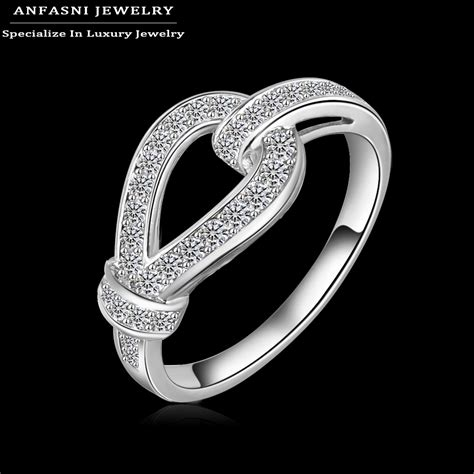 anfasni 2016 new arrival luxury style wedding ring real platinum plated aaa cubic zircon unisex