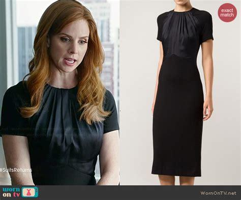 wornontv donnas black short sleeved dress  gathered