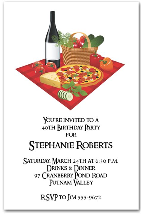 pizza  wine invitation italian dinner invitations