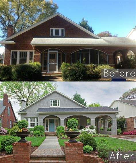 Painted brick houses | before and after. Before & After - Hooked on Houses | Painted brick house, Exterior remodel, Home exterior makeover