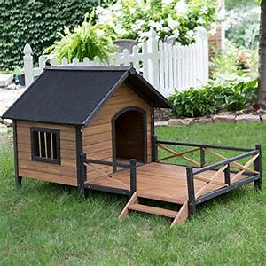 Large dog house lodge with porch deck kennels crates solid for Large dog house with porch