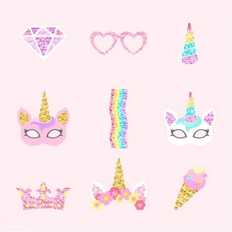 Looking for unicorn images and vectors? Cute unicorn photo booth party props vector   free image ...