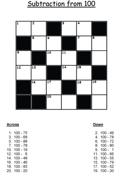 printable math crossword puzzles  primary math students