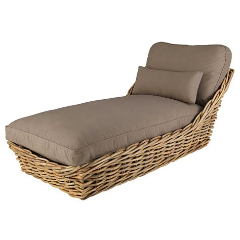 chaise longues garden chaise longue in rattan with taupe cushions st