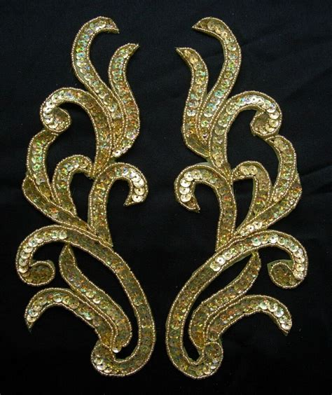 Gold Applique by Lr118 Mirror Pair Floral Sequin Beaded Applique Hologram