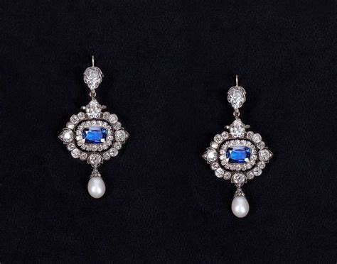 victorian  heated sapphire natural pearl diamond silver