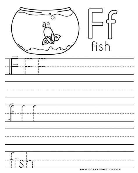 letter practice f worksheets dorky doodles