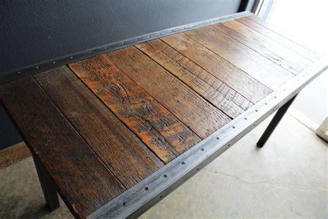 custom  industrial dining table  raw steel trim