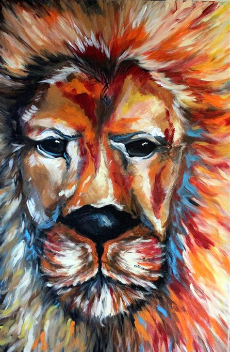 Lion Abstract Wild Animal Art Colorful Art Painting By