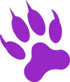Purple Panther Paw Print Clip Art