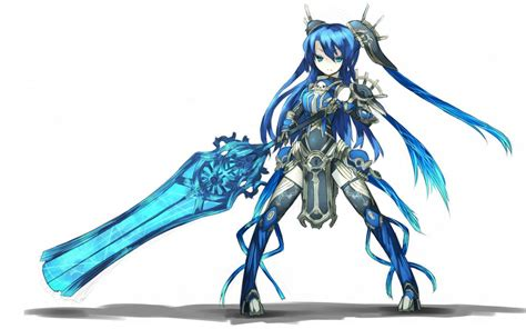 blue eyes weapons blue hair armor twintails simple