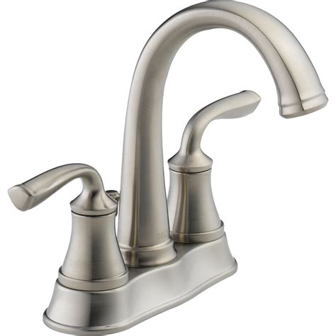 lowes kitchen sink faucets shop delta lorain stainless 2 handle 4 in centerset