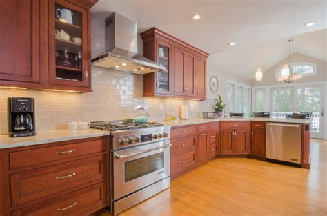 kitchen backsplash cherry cabinets white subway tile and simple pattern granite or marble 5022