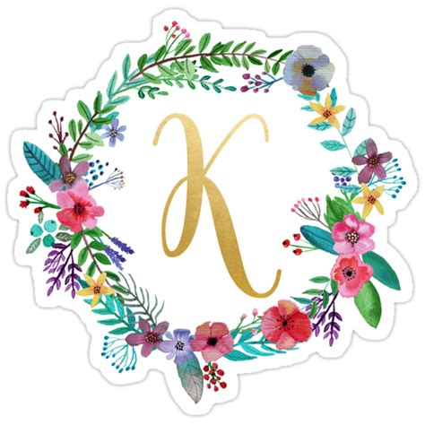floral initial wreath monogram  stickers  laurajoy redbubble