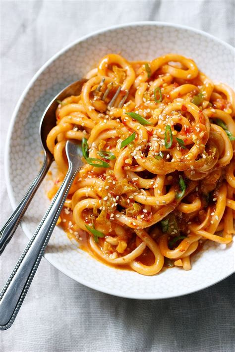 udon noodles stir fry recipe  kimchi sauce eatwell