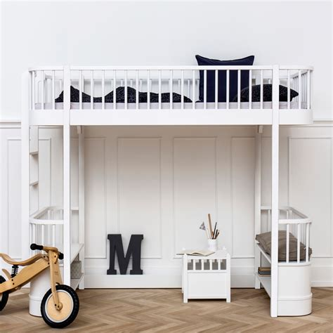 oliver high loft bed in white with storage diddle tinkers