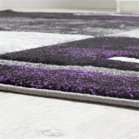designer teppich karo grau lila meliert teppichcenter24