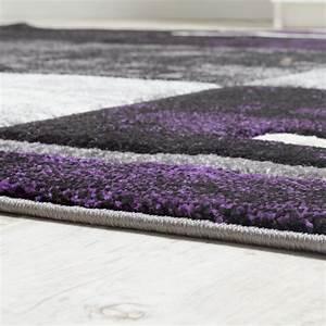 Teppich Grau Lila : designer teppich modern konturenschnitt meliert karo muster lila grau schwarz wohn und ~ Indierocktalk.com Haus und Dekorationen