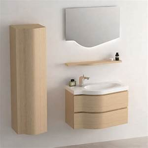 Colonne Pour Salle De Bain : meuble salle de bain ch ne clair 80 cm miroir colonne surf ~ Dailycaller-alerts.com Idées de Décoration