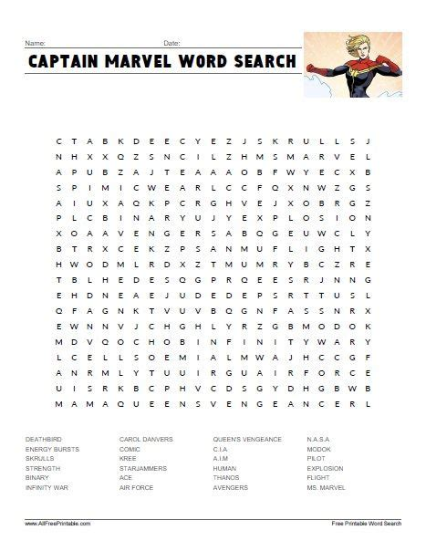 captain marvel word search summer activities
