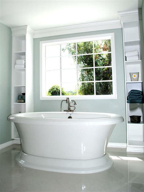 standing tub framed  built  shelves traditional