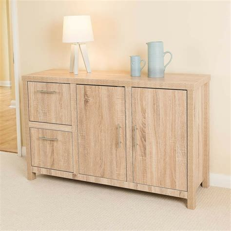 Oak 2 Door Sideboard by Christow Oak Effect 2 Door 2 Drawer Wooden Storage Cabinet
