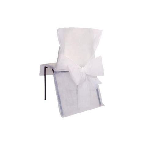 housse de chaise papier housses de chaise intissé blanc avec noeuds deco chaises