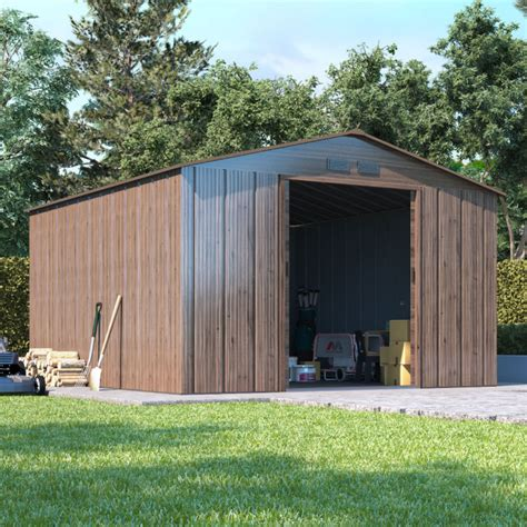 billyoh partner woodgrain apex metal shed metal garden