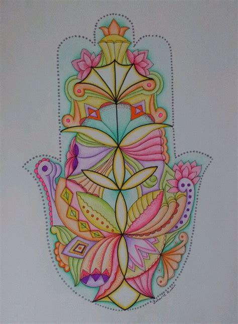 Ladari In Stile by Jerusalem Hamsa Mandala Style Signed Print By Artist