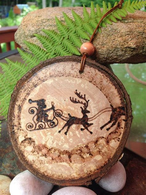 santa claus pyrography wood burned ornament created