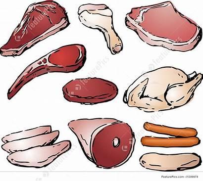 Meat Raw Cuts Illustration Clip Illustrations Sketch