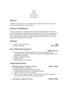 resume objective for stay at home sle resumes for stay at home free resume templates