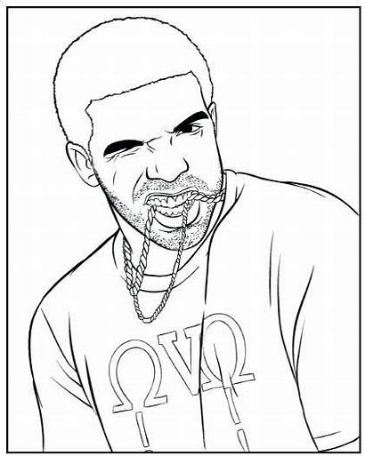 Coloring Drake Rapper Pages American Easy Drawing