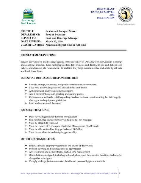 Banquet Server Responsibilities Resume by Doc 638825 Serving Resume Exles Server