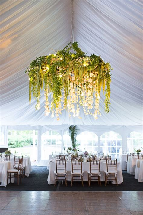 Romantic Backyard Wedding Wedding Ceiling Floral