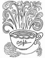 Coloring Coffee Printable Coloriage Adult Complex Adults Theme Nature Sheets Colouring Printables Cup Colorier Imprimer Historique Colour Sylvie Popular Gourmandises sketch template