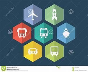 Flat Design Transport Icons Stock Vector