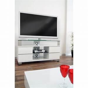 Meuble Avec Support Tv : pone meuble tv avec support lcd led 120cm blanc achat ~ Dailycaller-alerts.com Idées de Décoration