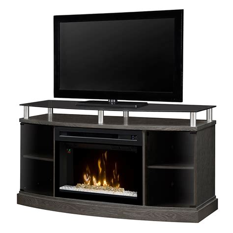 electric fireplace media cabinet windham silver charcoal electric fireplace media console