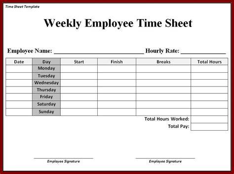 printable timesheet weekly employee time sheet spreadsheet
