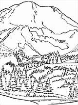 Sunrise Drawing Mountain Coloring Pages Mountains Getdrawings Drawings sketch template