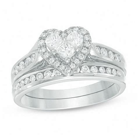 3 4 ct t w bridal set in 14k white gold