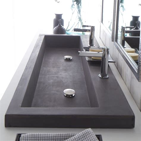 trough bathroom sink with two faucets modern trough sink instead of vanities maybe do