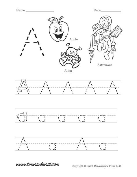 letter a worksheet