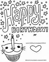 Birthday Coloring Printable Cards Happy Card Pages Kittybabylove Source Info sketch template