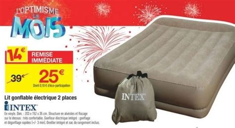 Matelas Gonflable Intex Carrefour by Matelas Gonflable Intex 2 Places Carrefour