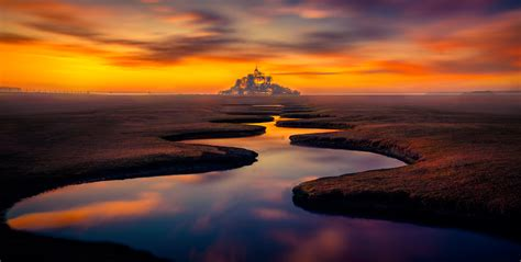 wallpaper mont saint michel landscape island normandy