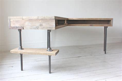 industrial l shaped desk stuart reclaimed scaffolding board industrial corner l shaped